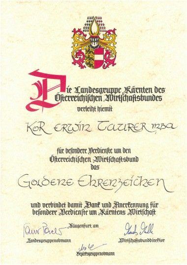 2015 Goldenes Ehrenzeichen Österreichischer Wirtschaftsbund