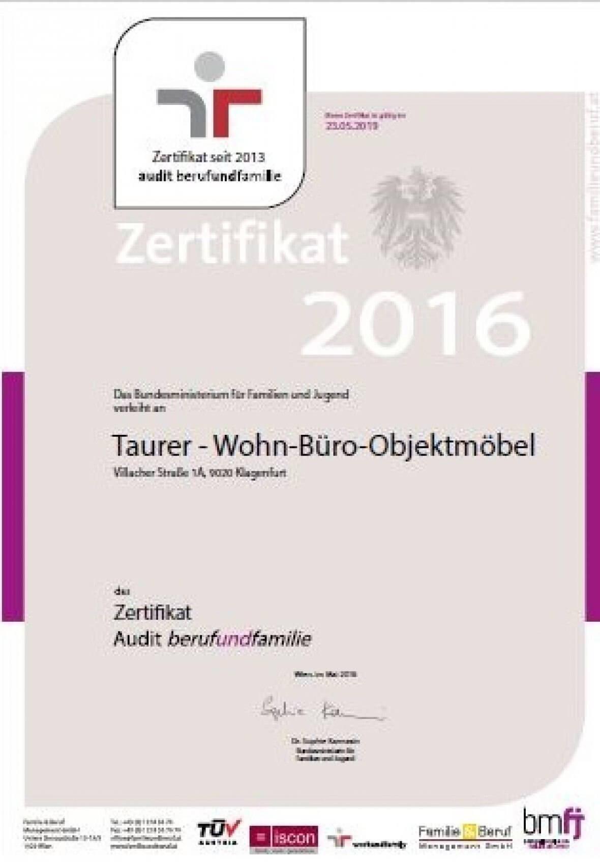 2016 Beruf und Familie Auszeichnung
